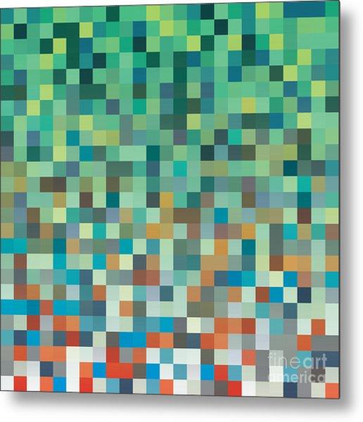 Pixel Art Style Pixel Background Metal Print