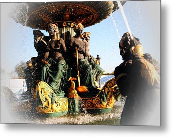 Place De La Concorde Fountain Metal Print by Jacqueline M Lewis