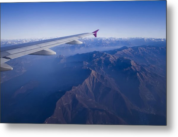 Plane Flying In Mountain Metal Print by Ioan Panaite