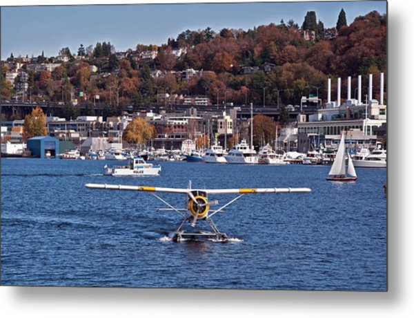 Plane On Lake Union Seattle Metal Print