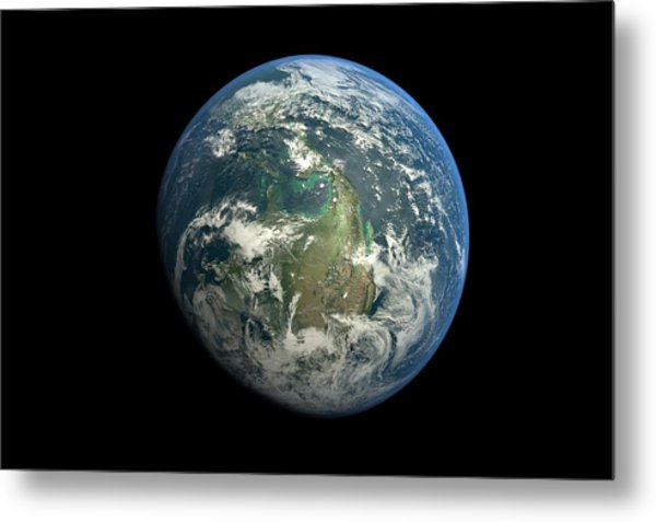 Planet Earth Against Black Background Metal Print by Vitalij Cerepok / Eyeem