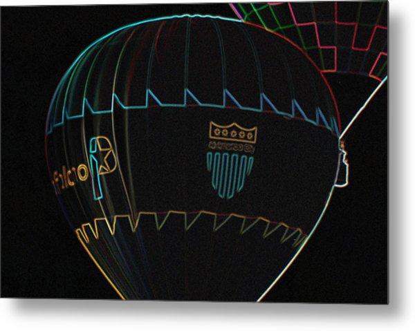 Plano Balloon In Neon Metal Print