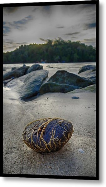 Plant-covered Rock In Krabi Metal Print by River Engel