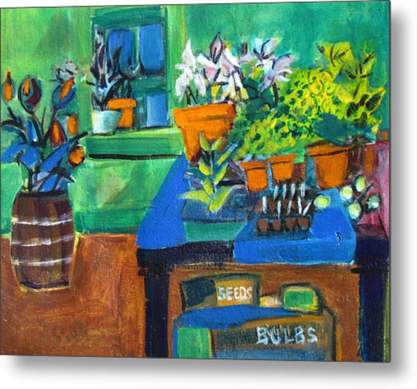 Plants In Potting Shed Metal Print
