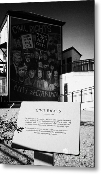 plaque and Civil Rights The Beginning mural as part of the peoples gallery murals in Rossville Street of the bogside area of Derry Londonderry Northern Ireland Metal Print