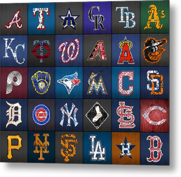 Play Ball Recycled Vintage Baseball Team Logo License Plate Art Metal Print