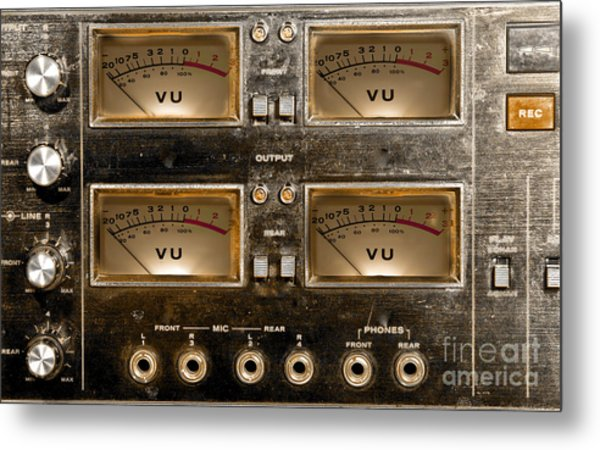 Playback Recording Vu Meters Grunge Metal Print