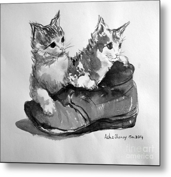 Playful Kittens Metal Print