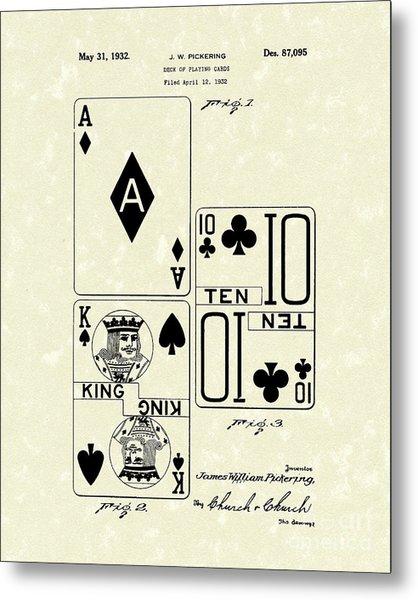 Playing Cards 1869 Patent Art Metal Print