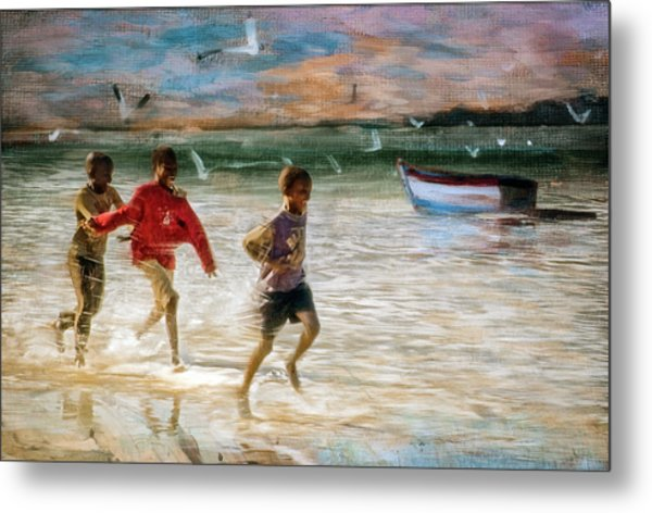 Playing In The Water Metal Print