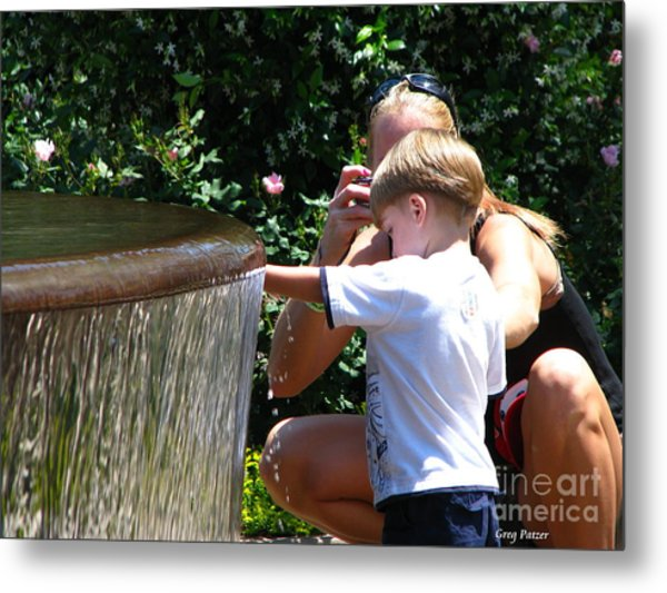 Playing In Water Metal Print by Greg Patzer