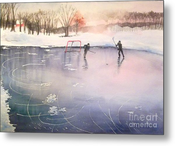 Playing On Ice Metal Print