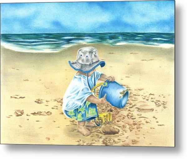 Playing On The Beach Metal Print