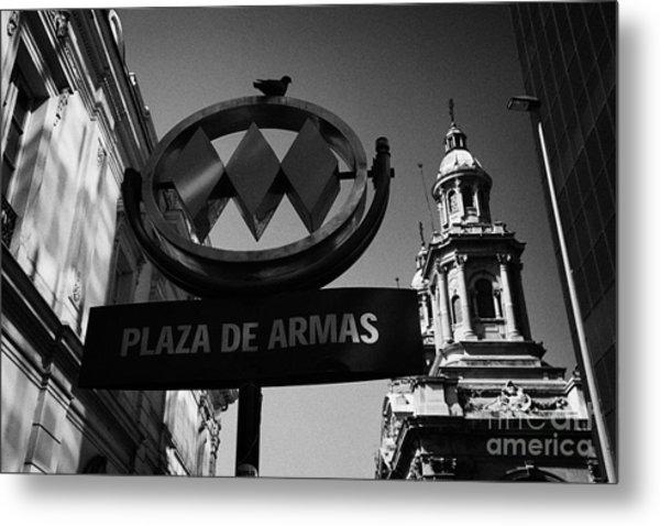 plaza de armas metro station near Santiago Metropolitan Cathedral Chile Metal Print by Joe Fox