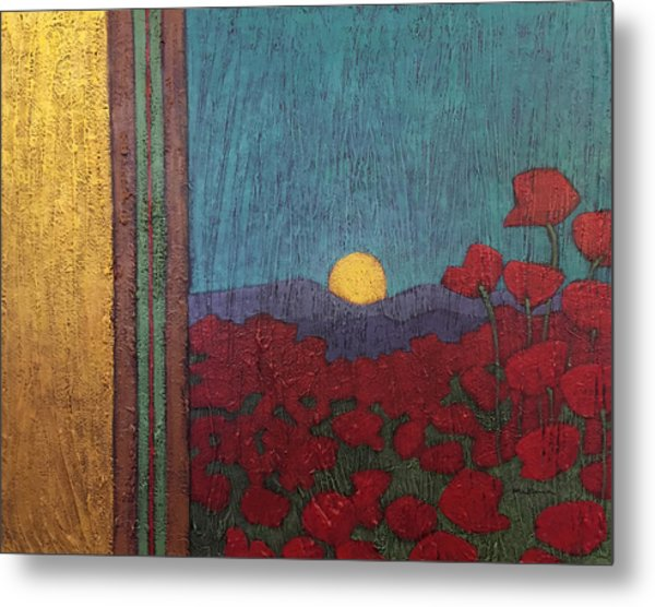 Plentiful Vista With Poppies Metal Print