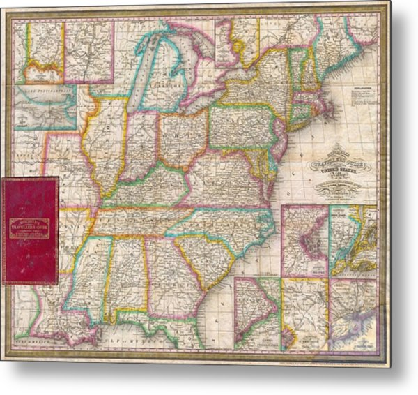 Pocket Map Of The United States Metal Print by Paul Fearn