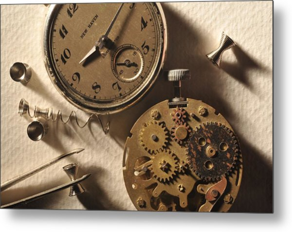 Pocket Watch Macro Number 1 Metal Print by John B Poisson