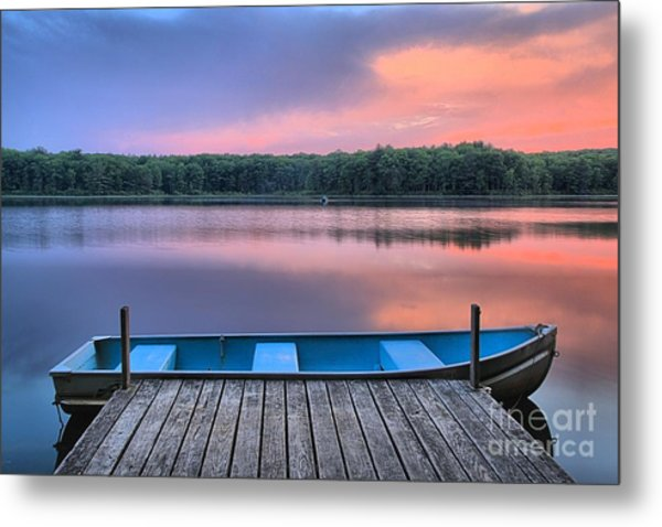 Poconos Lake Whitney Sunset Rowboat Metal Print