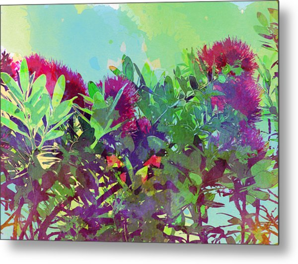 Metal Print featuring the painting Pohutakawa Tree by Jocelyn Friis