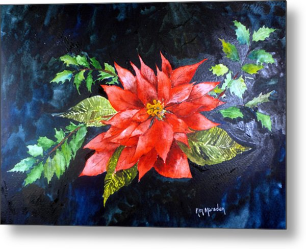 Poinsettia And Holly 2012 Metal Print