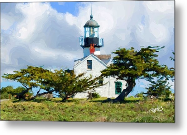 Point Pinos Lighthouse - Pacific Grove Ca Metal Print