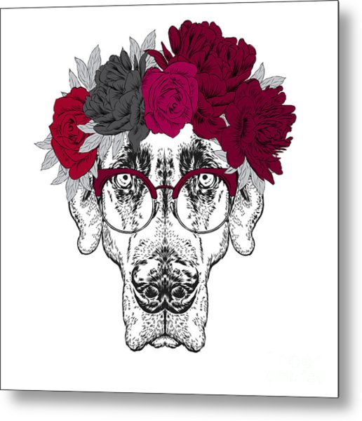 Pointer. Beautiful Dog In A Wreath Of Metal Print