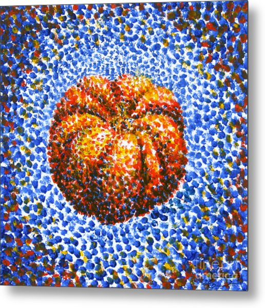 Pointillism Pumpkin Metal Print