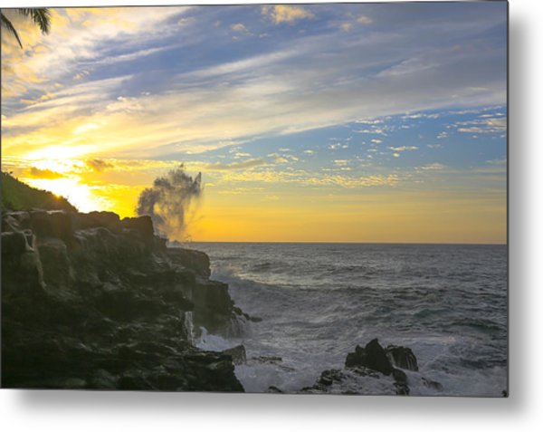 Poipu Kauai Sunrise Metal Print by Sam Amato