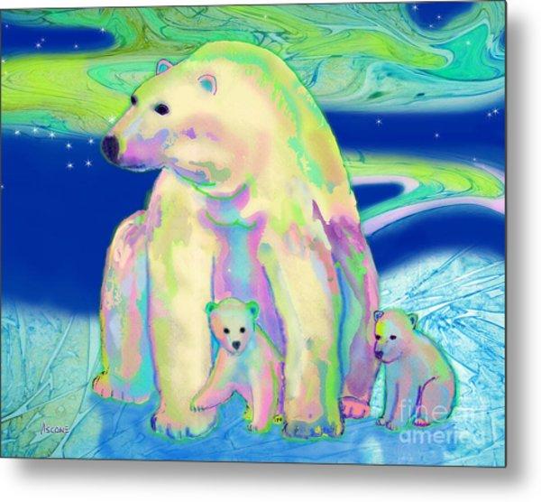 Polar Bear Aurora Metal Print