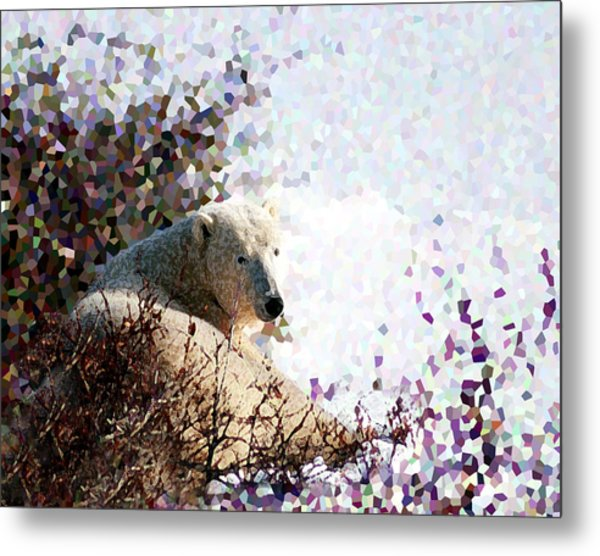Polar Bear In Willows Metal Print