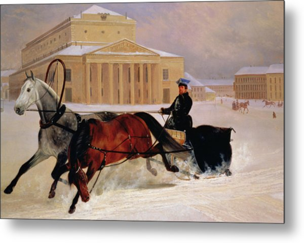Pole Pair With A Trace Horse At The Bolshoi Theatre In Moscow Metal Print