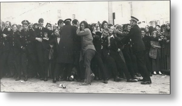 Police Hold Back Screaming Fans Trying To Get Tickets Metal Print by Retro Images Archive