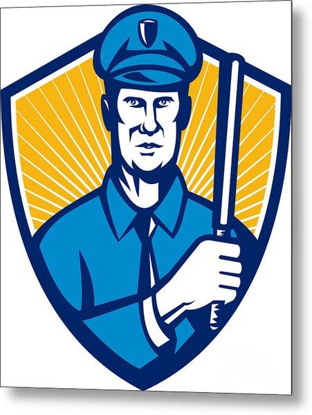 Policeman Police Officer Baton Shield Retro Metal Print by Aloysius Patrimonio
