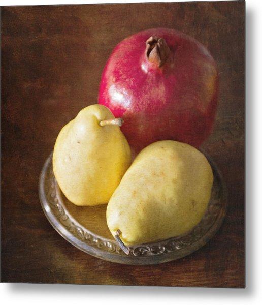 Pomegranate And Yellow Pear Still Life Metal Print