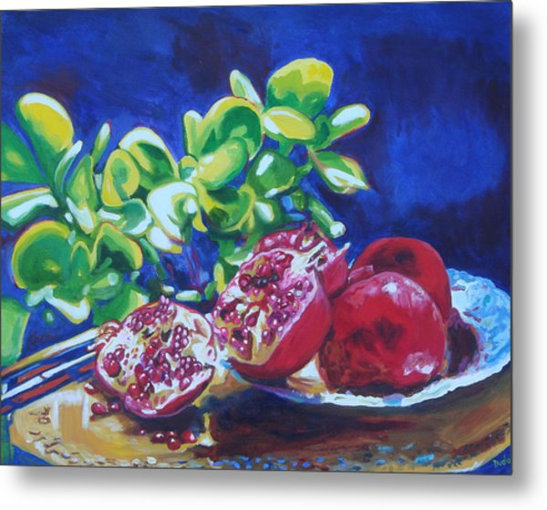 Pomegranates And Jade Metal Print