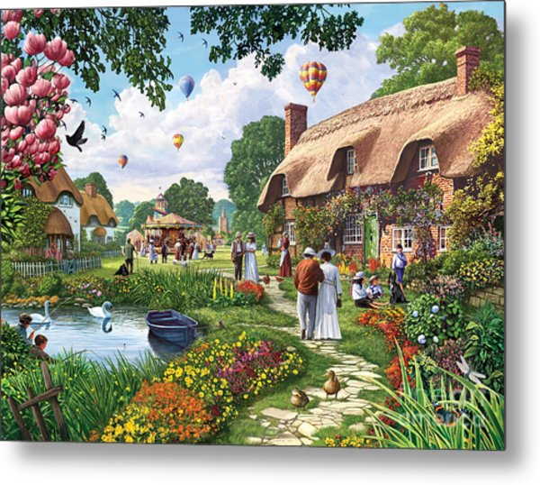 Pond Cottage Metal Print