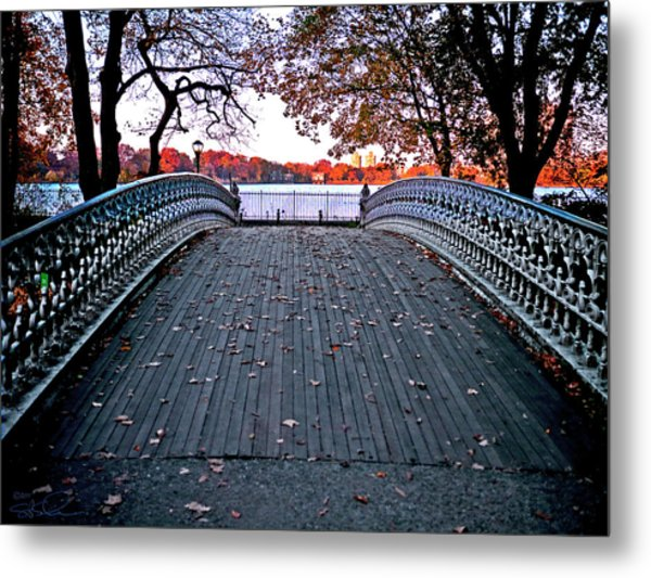 Pond Footbridge Metal Print