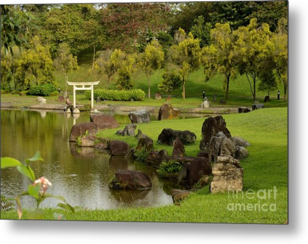 Pond Rocks Grass And Japanese Arch Singapore Metal Print