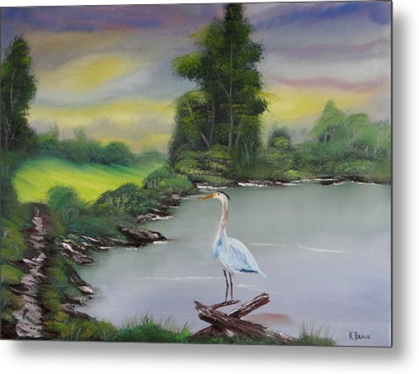 Metal Print featuring the painting Pond Watching by Kevin  Brown