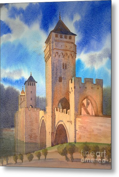 Pont Volontre Cahors France Metal Print by Katia Weyher