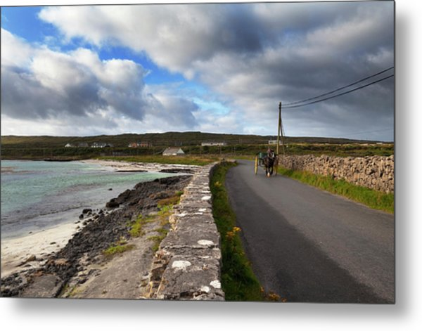 Pony And Trap On The Road From Kilronan Metal Print