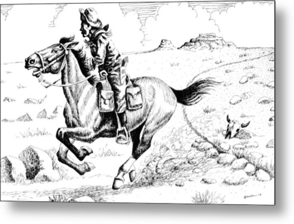Pony Express Rider Metal Print