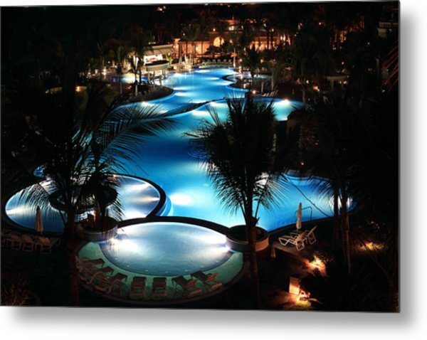 Pool At Night Metal Print