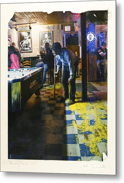 Pool Hall - The Rusty Nail Polaroid Transfer Metal Print