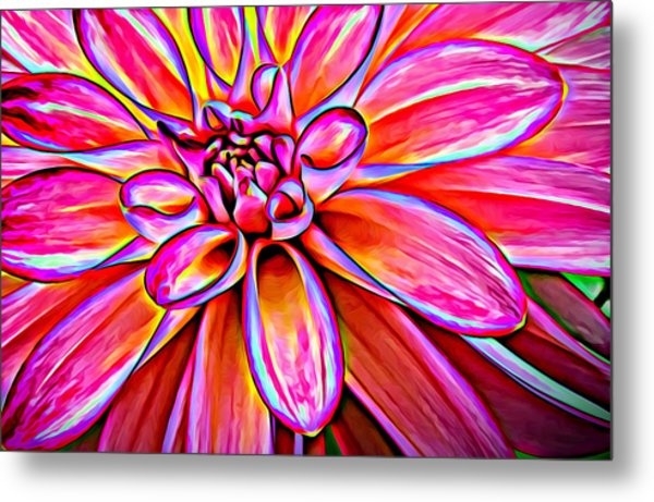 Pop Art Dahlia Metal Print
