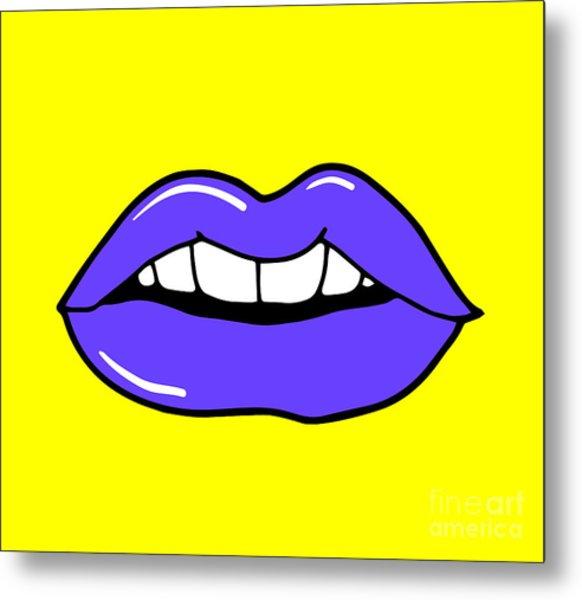 Pop Art Lips Isolated. Warhol Style Metal Print