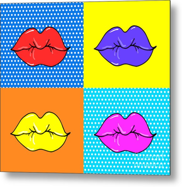 Pop Art Lips. Warhol Style Poster. Dot Metal Print by Oksanka007