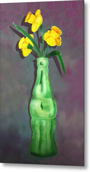 Pop Bottle Daffodil Metal Print