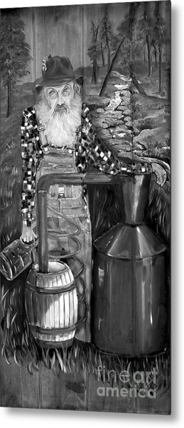 Popcorn Sutton - Black And White - Legendary Metal Print