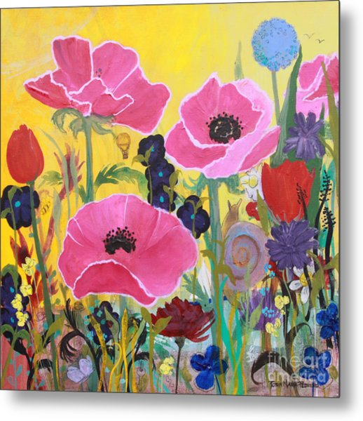 Poppies And Time Traveler Metal Print